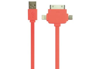 3-IN-1 USB 2.0-LAAD-/SYNCHRONISATIEKABEL - MANNELIJK/MANNELIJK - FLUORESCEREND ORANJE - 1 m (PLUGSPSET13O)