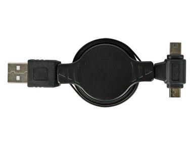 USB NAAR MICRO USB + MINI USB LAADADAPTER - ZELFOPROLLEND (PLUGSPSET9)