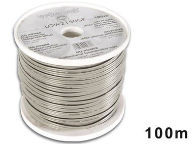 LUIDSPREKERKABEL - GRIJS - ZWARTE BAND - 2 x 1.50mm² - 100m (LOW2150GR)