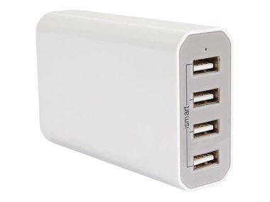 INTELLIGENTE LADER MET 4 USB-UITGANGEN - MAX. 7.2 A - MAX. 36 W - WIT (PSSEUSB20W)